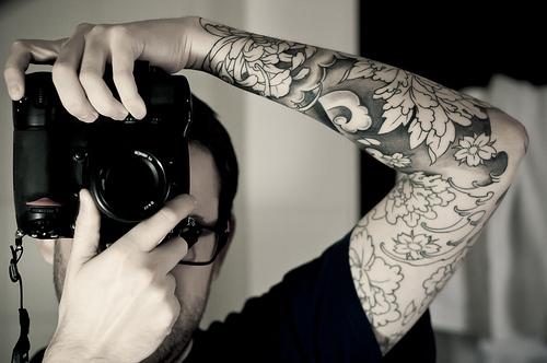 floral tattoo on man