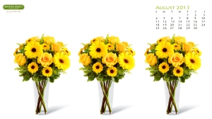Desktop wallpaper calendar August 2013 with yellow roses and daisies