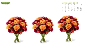 free September 2013 desktop wallpaper with bouquet of flowers