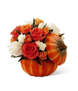 Fall pumpkin floral arrangement with roses from Grower Direct Fresh Cut Flowers