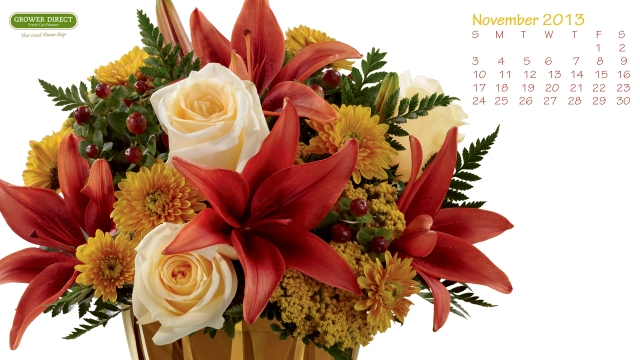 free floral desktop calendar for november 2013