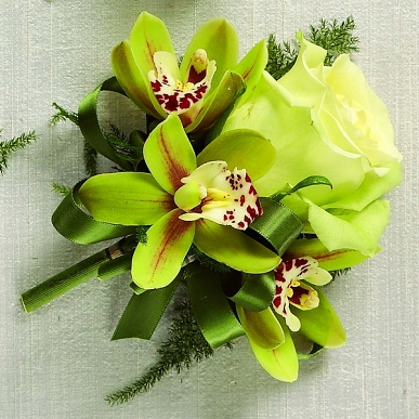 Green rose and mini green cymbidium orchid blooms- Wear in your hair, as s wrist corsage or boutonniere.