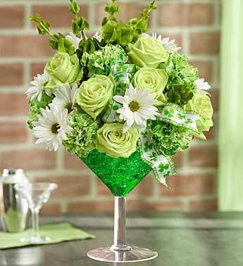 Ask your local florist to turn a martini glass into this gorgeous green arrangement!
