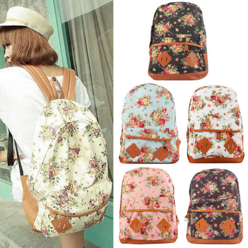 Canvas Flower Backpack. Purchase http://www.ebay.ca/itm/Women-Girl-Canvas-Rucksack-Flower-Backpack-School-Book-Shoulder-Bag-New-Nice-/311357697673?var=&hash=item487e5d6e89